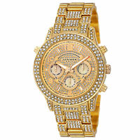 New Women's Akribos XXIV AK776YG Crystal Accented Multifunction Gold-tone Watch