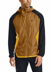 Mens Under Armour Stretch Woven Running Jacket Hooded 1352021 Gold Yellow SZ 3XL