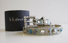 LADIES  -  BELT - BB Simon - Blue leather studs, crystal and turquoise stones. M