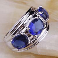 Fashion New Women Silver Ring Oval Sapphire Quartz Gemstone Banquet Jewelry Sz 7