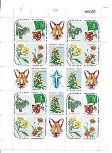 M144 SPANISH ANTILLES CHRISTMAS BELLS FLOWERS 3 FULL SHEETS  1969/70