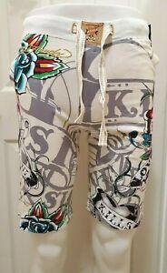 New Ed Hardy Men's Soft Knit Sleep Lounge Pajama Shorts Size XS