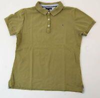 Tommy Hilfiger Classic Fit Poloshirt Polohemd Damen Gr.XL grün uni Knopf -S967