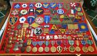WWI+WWII+KOREA+VIETNAM+MEDALS+PINS+AND+PATCHES+IN+24%22+X+18%22+X+2%22+GLASS+LID+CASE