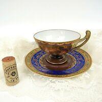 Vintage Epiag CZECHOSLOVAKIA CHINA 24K Gold Decorated BOHEMIA Teacup & Saucer