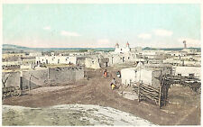 VIntage Postcard-Pueblo of Isleta, NM, showing church in distance