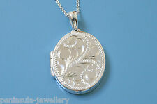 """Solid Sterling Silver engraved Oval Locket Pendant and 18"""" chain, Gift Boxed"""
