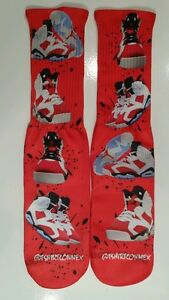 "Custom Jordan ""Carmines"" collage dry fit Socks 6 six III IV V VI VII XI X"