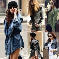 Sharp Studded Shoulder Notched Lapel Denim Jean Tuxedo Hooded Coat Jacket Cool C