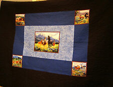 Truckers Quilt Blanket Wallhanging or Bedspread w/Wild in Bloom Horse Panels