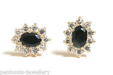 9ct Gold Sapphire Stud Earrings Gift Boxed Made in UK