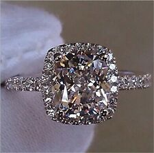 Fashion 925 Silver Princess Cut White Sapphire Ring Bridal Gifts Jewelry Wedding