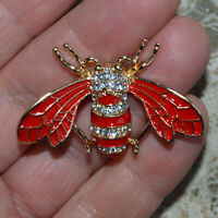 Art Deco Red Bee Brooch Crystal Insect Fly Vintage Style Broach Women Men's Gift