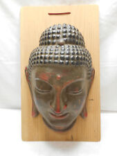 Mask Large Japanese Buddha Goddess Clay Vintage Hand Made Unique Display #137