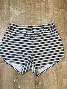 Torrid Active Striped athletic workout swim Shorts Size 1 Black White Pocket