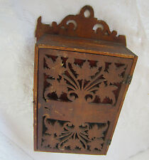 ۞  Early Antique hand carved wooden mailbox, carving, old wood wall box