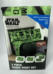 Star Wars Rogue One Imperial Trooper 4 Piece Queen Sheet Set Green
