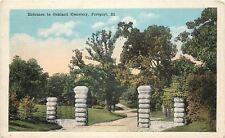 Freeport Illinois~Oakland Cemetary~Stone Pillar Entrance Paths~1920s Postcard