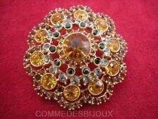 """Broche """"Rosace Classique"""" N° 012 cristal Topaze Gris - Bijoux Vintage Sphinx"""