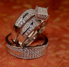 White Gold Finish Engagement Ring And Multi Wedding Bands Set His Hers L6 M 9