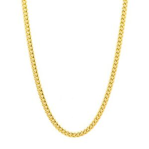 Yellow Gold Plated Mens Sterling Silver 4.6MM Miami Curb Chain - Solid and Heavy