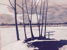 "Winter Trees by John Senk Original Oil Painting 17"" x 24"" Free Shipping"