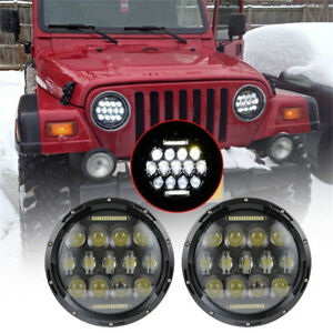 Pair 7'' Round Halo LED Headlights Black Housing For Jeep Wrangler JK TJ 97-2017