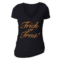 Halloween T-shirt Trick or Treat Pumpkin scary spooky Funny Women vneck shirt