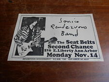 Sonic's Rendezvous Band ORIGINAL 70s DETROIT FLYER Mon Nov 14 @ Second Chance