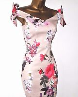 NUDE FLORAL BOW BARDOT BODYCON SUMMER EVENING PARTY OCCASION WEDDING DRESS UK 6
