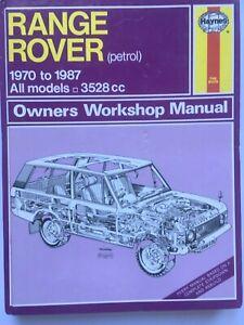CLASSIC RANGE ROVER HAYNES WORKSHOP MANUAL 1971 TO 1987  - HARDBACK VERSION