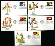 #2961-5 32c Recreational Sports FDC's set of 5 with Fleetwood Cachets FD6952