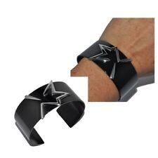 THIERRY MUGLER Bracelet manchette acier noir étoile argenté bijou