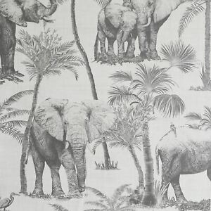 Arthouse Safari Elephants Charcoal 296700 Wallpaper Palm Trees Tropical Grey