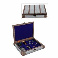 Silver Handcrafted Faux Leather Jewellery Box Organizer with Copper Strips
