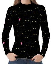 Schwarz Katzen Damen Stehkragen Pullover T-Stück T-Shirt b20 acq02539