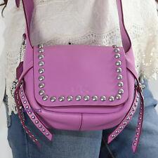 NEW Coach Rivet Leather Dakotah 14 Flap Crossbody Bag 35751 Pink/Purple RARE