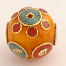 Turquoise Coral Brass Focal Beads Ethnic Tribal Gypsy Boho Bohemian Nepal AA56