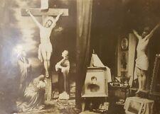 ANTIQUE CRUCIFIXION ART STUDIO MALE MODEL FINE ART FIGURE PAINTING BOSTON PHOTO