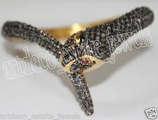 9.15ct ROSE CUT DIAMOND RUBY ANTIQUE VICTORIAN LOOK 925 SILVER SNAKE BRACELET