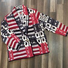 Womens Blanket Blazer Jacket American Flag Tapestry Patriotic Plus Sz 14 16