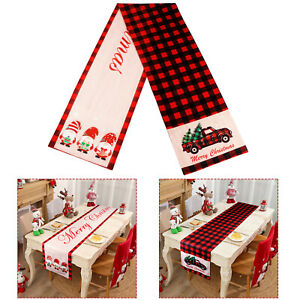 Red & Black Buffalo Plaid Christmas Table Runner w/ Red Truck & Swedish Gnomes