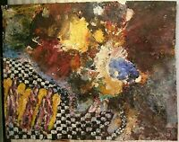 EXPRESSIONIST ABSTRACT MIXED MEDIA PAINTING LISTED NY ARTIST CHARLES LONG