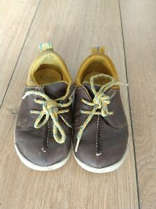 Clarks Boys Infant Kids Leather Brown Lace Up Casual Shoes 6 G UK 22.5 W EU