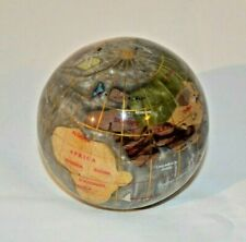 """Lovely 3"""" Globe Paperweight Inlaid Semi-Precious Stone. Pearly Grey. Gold Grid."""