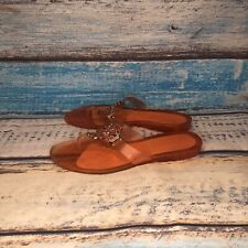 Coach Coral/Orange Womens Thong Rubber Flip Flop With Metal Sandals Size 6
