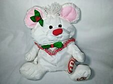 Fisher Price Puffalump 1987 White Nylon Candy Cane Mouse Christmas Toy Vintage