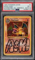 1999 Pokemon Base Set Steve Aoki Shadowless Holo Charizard PSA/DNA AUTO 8 PSA 1