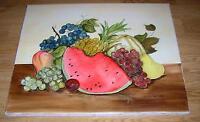 WATERMELON PINEAPPLE FRUIT GRAPES CANTALOUPE PEAR BOTANICAL STILL LIFE PAINTING