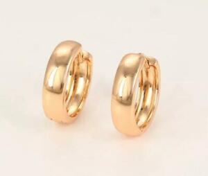 """9ct 9K Yellow """"Gold Filled"""" Ladies Men Plain Small Sleeper Hoop Earrings .13mm"""